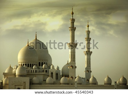 Grand Mosque, its also known as Sheikh Zayed Mosque, located in Abu Dhbai, This is the third biggest mosque in the world. This image is just the side view of the mosque.