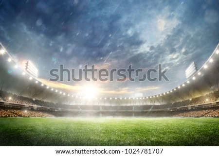 Grand multisport arena background in the rain 3d render