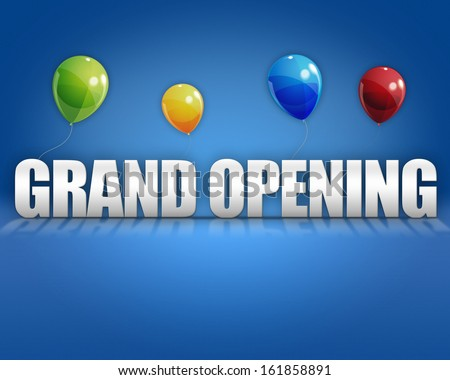 Grand opening balloons on blue 3D stage background template