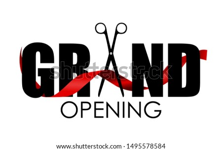 Grand Opening Card with Ribbon Background.  Illustration