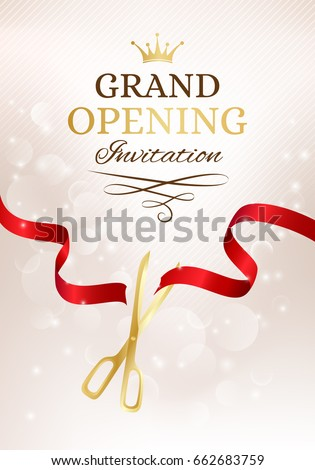 grand opening invitation card with cut red ribbon and gold scissors background with light effect