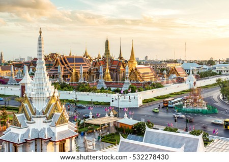 Grand palace and Wat phra keaw at Bangkok, Thailand. Beautiful Landmark of Asia. Temple of the Emerald Buddha. landscape of the capital city