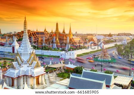 Grand palace and Wat phra keaw at sunset Bangkok, Thailand. Beautiful Landmark of Asia. Temple of the Emerald Buddha. landscape of the capital city