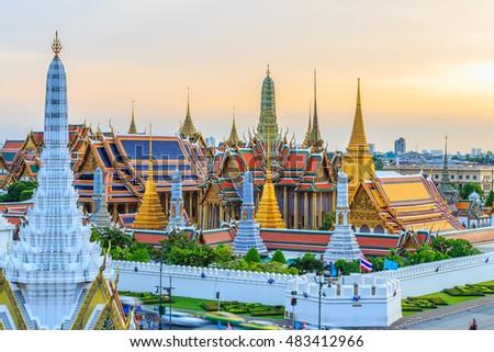 Grand palace and Wat phra keaw at sunset bangkok, Thailand. Beautiful Landmark of Thailand, Temple of the Emerald Buddha