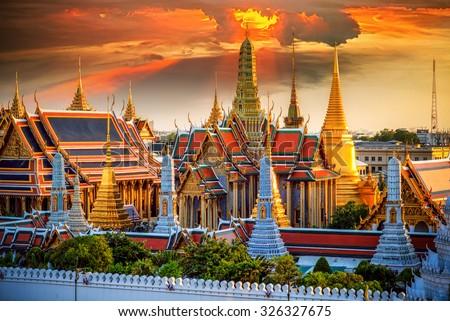 Grand palace and Wat phra keaw at sunset in Bangkok, Thailand