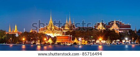 Grand palace at night in Bangkok, Thailand