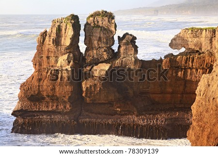 grand Pancake rock canyon of New Zealand, located in west coast  in the evening