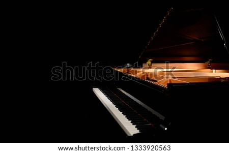 Grand piano, black piano , studio piano, Yamaha, classical music, stage #1333920563