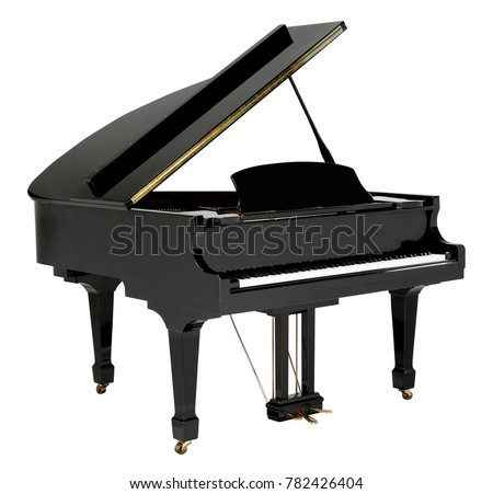 Grand piano black with clipping path #782426404