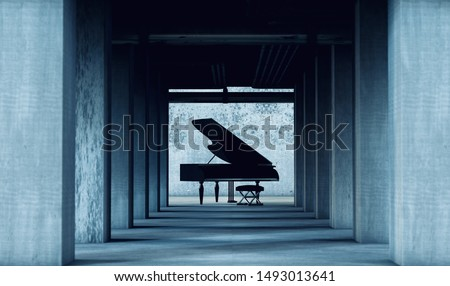 Grand piano in cement and concrete interior architecture. Art and musical instruments.Musical background.Piano music concept.3d illustration Photo stock ©