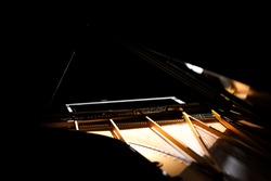 Grand Piano on Black Background (Piano, Grand Piano, Black Piano, GrandPiano, Black GrandPiano GrandPiano On stage) Music background