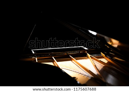 Grand Piano on Black Background (Piano, Grand Piano, Black Piano, GrandPiano, Black GrandPiano GrandPiano On stage) Music background #1175607688