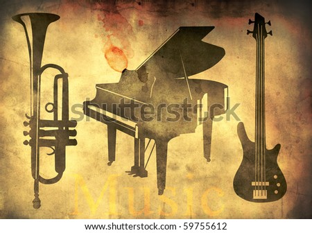 Grand piano, trumpet and guitar - music theme over retro background