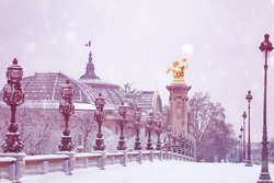 Grand Place, Alexander 3 bridge, Paris under snow
