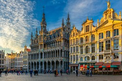 Grand Place (Grote Markt) with Maison du Roi (King's House or Breadhouse) in Brussels, Belgium. Grand Place is important tourist destination in Brussels. Cityscape of Brussels.