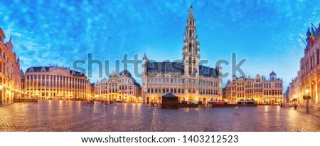 Grand Place in Brussel, panorama at night, Belgium #1403212523