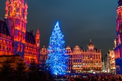 Grand Place in Brussels, belguim at night with christmas tree