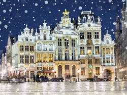 Grand Place in Brussels on a snowy winter night, Belgium