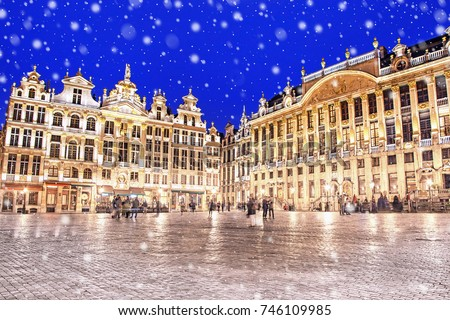 Grand Place in Brussels on a snowy winter night, Belgium #746109985