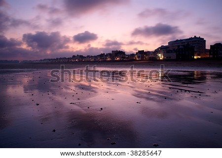 Grand Plage in the morning in Saint Malo, France.