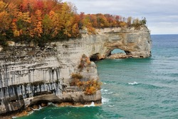 Grand Portal Point Pictured Rocks National Lakeshore.  Michigan Autumn