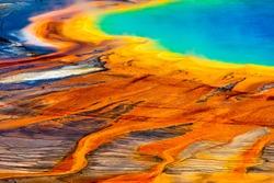 Grand Prismatic Spring closeup at Yellowstone National Park