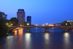 Grand Rapids Bridge at dusk in Michigan summer time
