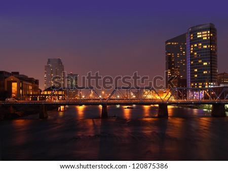 Grand Rapids city at night in Michigan USA