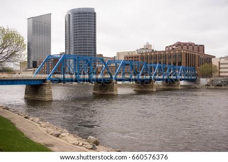 Grand Rapids Michigan Downtown City Skyline Waterfront Bridge