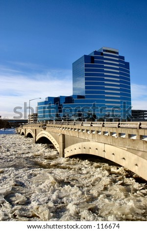 Grand River in downtown Grand Rapids, Michigan on a very cold Winter day.
