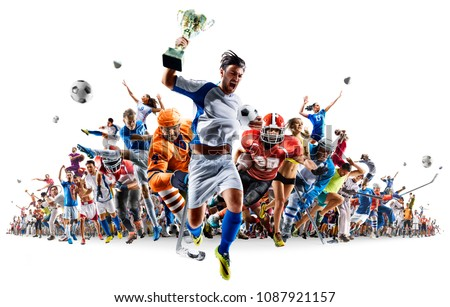 Grand sports collage soccer basketball hockey baseball american football etc isolated on white