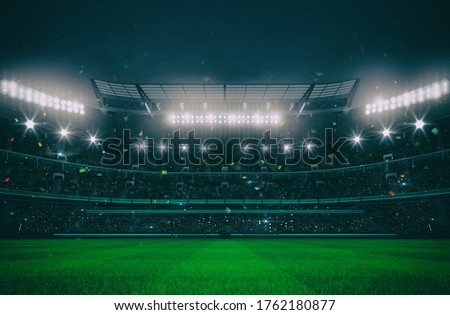 Grand stadium full of spectators expecting an evening match on the grass field. Sport building 3D professional background illustration.