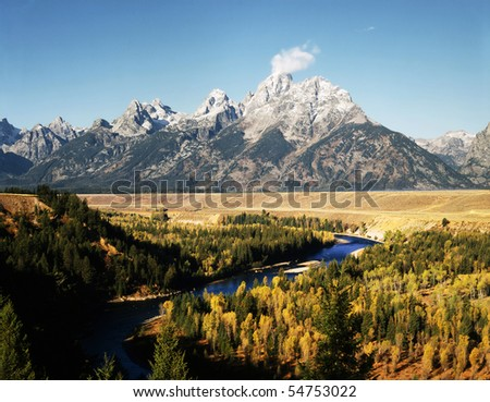 Grand Teton and Snake River - stock photo
