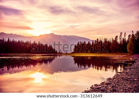 stock photo grand teton mountain range at sunset jackson lake grand teton national park wyoming usa 313612649 - Каталог - 3d фотообои