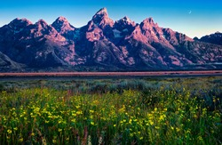 Grand Teton National Park at dawn.  Wyoming, USA.