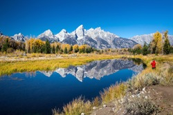 Grand Teton National Park in autumn in Wyoming USA