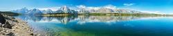 Grand Teton National Park, Wyoming.  Panorama showing reflection of mountains on Jackson Lake near Yellowstone.