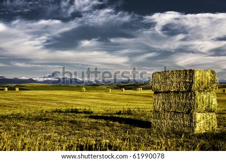 Grand Tetons and deep colored hay bales and field