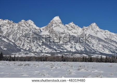 Grand Tetons in Winter - Close Up