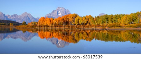 Grand tetons national park from Oxbow bend - stock photo