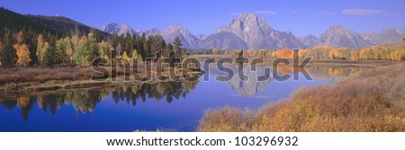 Grand Tetons reflected in Oxbow Bend, Wyoming