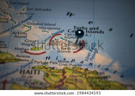 Grand Turk Island pinned on geographical map Foto stock ©