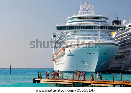 GRAND TURK, TURK AND CAICOS - FEB. 12: Cruise ships dock in Grand Turk, the capital island, on Feb. 12, 2010. Christopher Columbus made landfall here on his initial voyage to the New World in 1492.