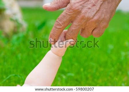 grandad\'s and baby\'s hands outdoors
