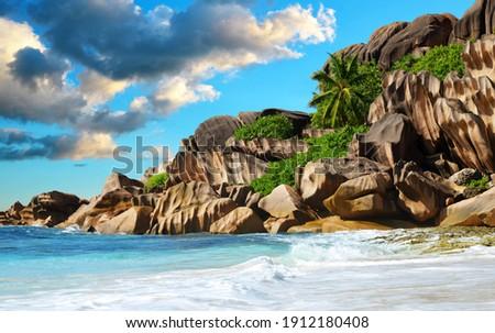 Grande Anse beach in La Digue Island at sunrise, Indian Ocean, Seychelles. Tropical travel destination. Photo stock ©