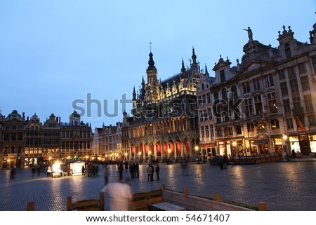 Grande place, Town Hall, Groote Markt, Brussels, Belgium, Europe - stock photo