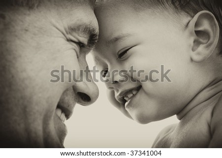 Grandfather and grandson. black and white. Focus on child - stock photo