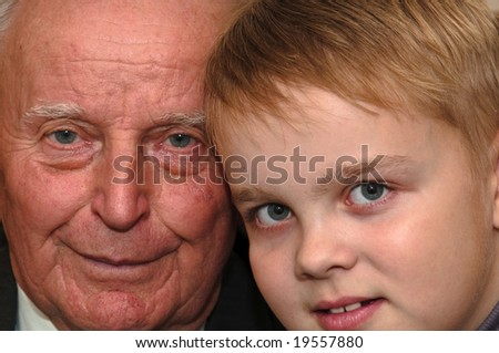 grandfather and grandson close up view