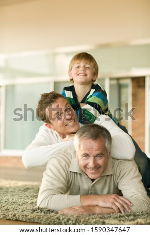 Grandfather, father, and son, portrait