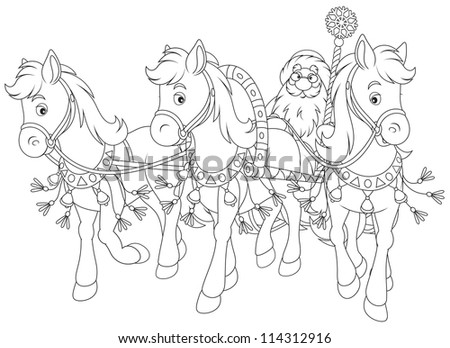 Grandfather Frost drives in his sledge pulled by three horses